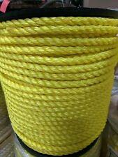 "1/2"" 3-Strand Twisted Poly Pro Polypropylene Rope Yellow (1200 Feet)"