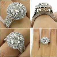 925 Silver Plated Jewelry Women wedding Bridal Ring Round Cut White Sapphire