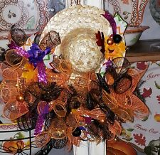 SCARECROW WREATH Fall, HALLOWEEN, THANKSGIVING Deco Mesh - Set of 2 Mini Wreaths