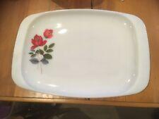 Vintage Retro Pyrex JAJ White Glass Serving Dish Tray Platter Red Rose Design