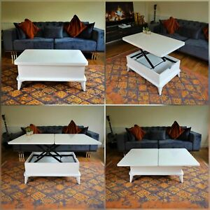 MAGIC WHITE EXTENDABLE COFFEE / DINING TABLE 6 IN 1
