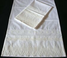 Promotion New  Embroidered Lace PillowCases White Sateen Cotton King  Pair Q4#