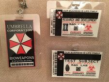 Resident Evil ID Badge- Umbrella Corp Test Subject R&D BIOWEAPONS DIV prop ALL 3