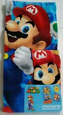Nintendo Super Mario 2 Piece Bath Towel and Washcloth Set 100% Cotton