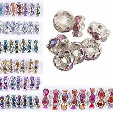 100pcs Silver Plated Czech Crystal Rhinestone Rondelle Spacer Beads 8mm