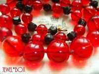 ART DECO Vintage RUBY RED POOLS OF LIGHT JET Crystal KNOTTED Longer NECKLACE