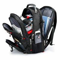 "USB Port 15 16 17.3"" Swiss Laptop Notebook Backpack Travel Bag Gear Waterproof"