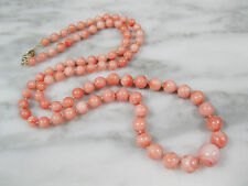 VTG CHINESE NATURAL PINK ANGEL SKIN CORAL BEADED NECKLACE 14K GOLD CLASP 22 3/4""