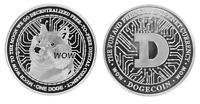 1.2 oz Physical Dogecoin Doge Iron Coin Token Round Chip Crypto Silver Color