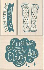 RAIN Boots Cloudy Day Wood Mounted Rubber Stamp Set Iinkadinkado 60-10175 New