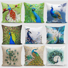 18'' Oriental Chinese Style Colorful Peacock Flower Pillow Case Cushion Cover