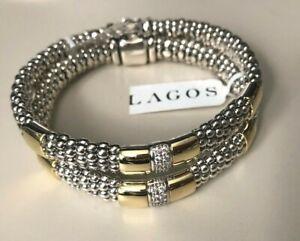 Lagos Caviar Lux Diamond Rope Silver 18K Gold Bracelet New