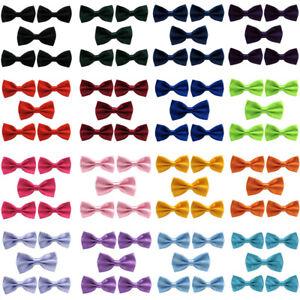 5 PCS Men Classic Satin Bow Tie Wedding School Adjustable Solid Color Bowtie