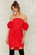 Nasty Gal Tea & Cup In The Bag Off-the-Shoulder Dress Red Size Medium