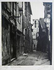 GRANDE PHOTO ORIGINALE PHOTOGRAPHE E CORVÉE SIGNÉ TROYES RUELLE AUX CHATS 1930