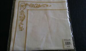 TWO Ralph Lauren Briley Floral White gold Linen Napkins Brand New w/ tags Italy
