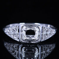 VINTAGE FILIGREE ENGRAVED 4MM ROUND SOLID 10K WHITE GOLD SETTING RING