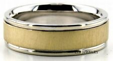 MENS 10K TWO TONE GOLD WEDDING BANDS,BRUSHED FINISH 6MM WEDDING RINGS