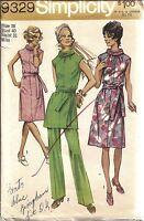 9329 Vintage Simplicity Sewing Pattern Misses Dress Tunic Pants 1970's OOP SEW