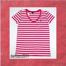 Polo Ralph Lauren Women's Size M  PONY LOGO V-Neck Pink/White Striped T-Shirt