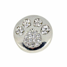 Round Silver & Crystal Paw Print Snap Button/Charm -Noosa, Ginger Snaps, etc