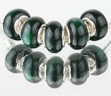 5PCS SILVER MURANO Cat's Eye BEAD Fit European Charm Bracelet Making A#489