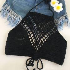 Women Crochet Lace Bralette Knit Bra Boho Beach Bikini Halter Cami Tank Crop 3c Black