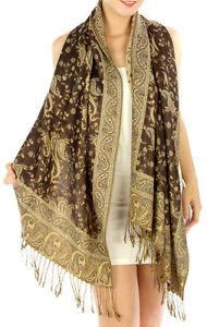 Fashion Outlined Paisley Pashmina Scarf Shawl Wrap 24 COLORS