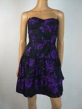 $168 Ali Ro Black Purple Floral Sateen Tiered Sweetheart Dress 6 NEW A866