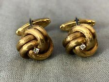 Vintage Lucien Piccard 14k Yellow Gold with Diamond Knot Cufflinks