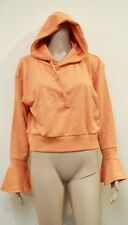 Women's Missguided Orange Flare Cuff Detail Cropped Hoody UK Size 12 VR72 05