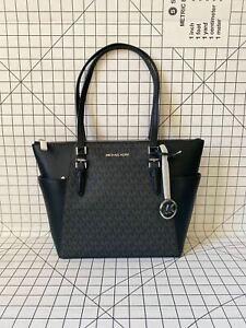 NWT Michael Kors Charlotte Top Zip Tote MK Signature Shoulder Bag Black