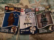 More details for lego star wars led lite keyrings stormtrooper, chewbacca and boba fett...