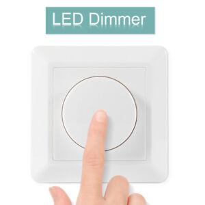 LED Dimmer Drehdimmer Schalter 100-240V 10-200W für Dimmbare Lampen Unterputz DE