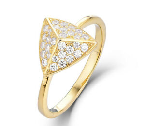 24K Gold Over 925 Sterling Silver CZ Stud Fashion Ring Band Women Sz 3-12 SS5518