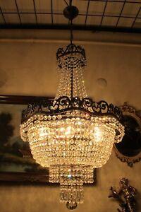Antique Vintage French Basket style Real swarovski Crystal Chandelier Lamp Light