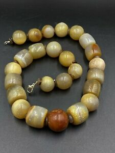 Old Antique Banded Agate Big Size Beads Necklace