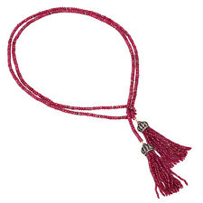 18k Gold Sterling Silver 434ct Ruby Beads Pave Diamond Lariat Tassel Necklace