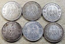 UNIQUE 6 x Full Mint Set 5 ReichsMark Potsdam Church 1934 Nazi Silver Coins L3
