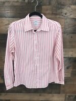 Brooks Brothers Women's Pink & White Stripe Fitted Long Sleeve Button Up Blouse
