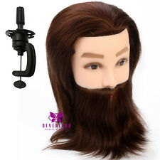 "100% Real Hair Male 14"" Training Head Salon Practice Hairdressing Mannequin Doll"