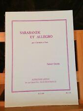 Gabriel Grovlez Sarabande et allegro pour clarinette et piano partition Leduc