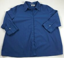 Duo Maternity Women's Long Sleeve Button Up Shirt 2X Plus Solid Blue Casual