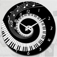 Music Notes Clock 17cm - Black