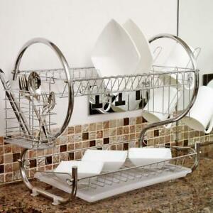 2 Tier Kitchen Dish Cup Drying Rack Drainer Dryer Tray Plate Bowl Drying Stand