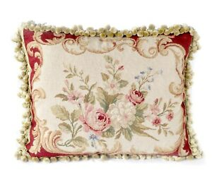 Needlepoint Pillow | Pink Roses Throw Cushion Cover Pillowcase Handmade 16x20