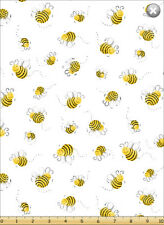 Susybee Bees White Background Cotton Quilting Fabric 1/2 YARD