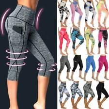 Womens Capri Yoga Pants High Waist Leggings Cropped Pockets Fitness Sports Gym