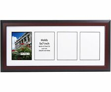 CreativePF 4 Opening Multi 5x7 Mahogany Picture Frame w/ 10x24 White Collage Mat
