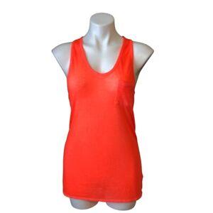 Athleta Tank XS Orange Sheer Lightweight Sleeveless Loose Relaxed Fit